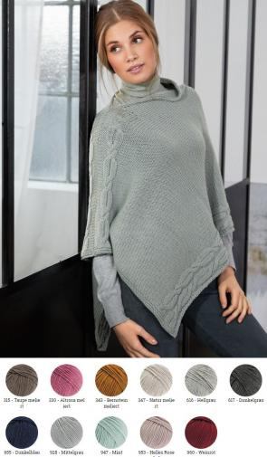 Poncho aus Cool Wool Big (Melange)